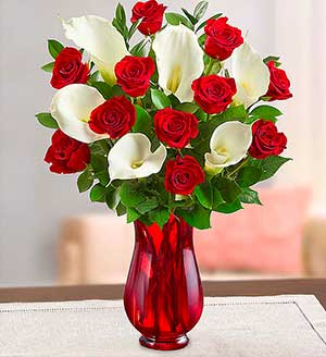 Stunning Red Rose & Calla Lily